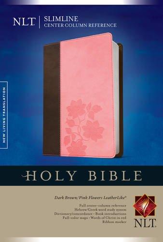 Slimline Center Column Reference Bible NLT, TuTone (LeatherLike, Dark Brown/Pink Flowers)