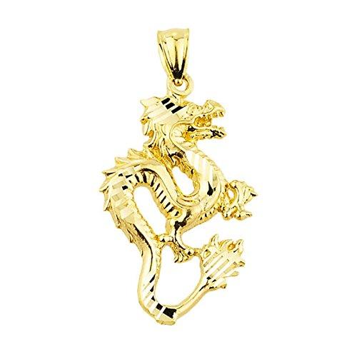 Petits Merveilles D'amour - 14 ct Or 585/1000 diamant Coupe de dragon Pendentif