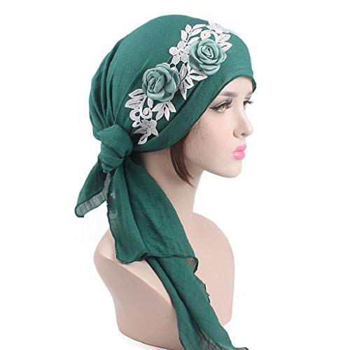 Yarn 020 (Sacow Scarf Turban Hat Cap, Women's Cotton Yarn Scarf Chemo Hat Headwraps Cancer Hats with Flowers Decor (Green))