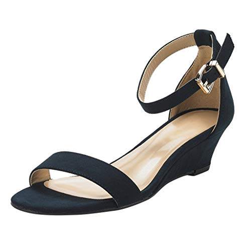 (◕‿◕ Watere◕‿◕ Women's Summer Fashion Design Ankle Strap Buckle Low Wedge Platform Heel Sandals Shoes Casual Shoes Black)