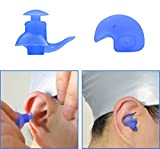 VEVELE Silicone Molded Swimming Ear Plugs for Adults, Spiral Design Against the Water in Sea or Swimming Pool(Blue)