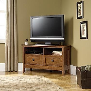 Sauder 410627 August Hill Corner Entertainment Stand, For TV's up to 40', Oiled Oak finish