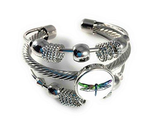 Dragonfly Snap Charm Cuff Bracelet Adjusts to fit Skinny Wrists