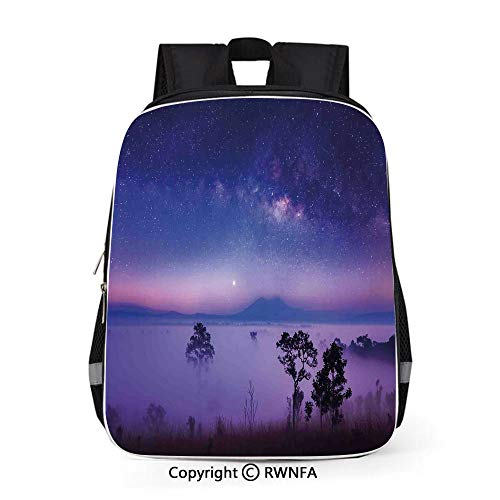 Fashion Leisure Backpack for Boys Girls Teenage School,Milk Way Starry Night in a National Park Thailand Mystical Forest Scenery Picture 16 inches Purple Blue,Travel Water Resistant ket Bookbag