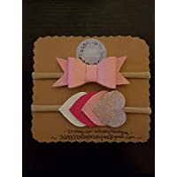 Pink and Heart Faux Leather Headbands