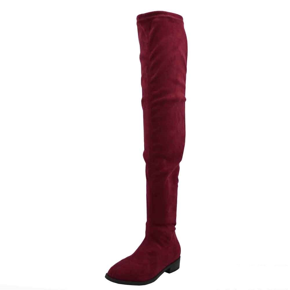 Olivia Jaymes Over The Knee Boot | Thigh High Drawstring Stretch Upper | Round Toe | Low Chunky Block Heel Boots B077WM952F 7.5 B(M) US|Wine