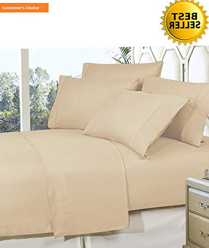 (Mikash New Soft Best, Softest, Coziest Bed Sheets Ever! 1800 Thread Count Egyptian Quality Wrinkle-Resistant 4-Piece Sheet Set with Deep Pockets 100% Hypoallergenic, Full Cream/Tan   Style 84599144)