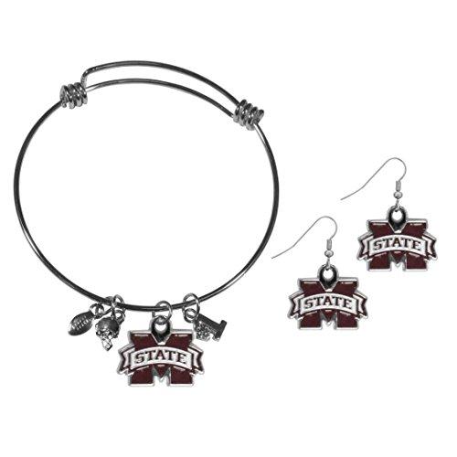 Siskiyou NCAA Mississippi State Bulldogs Dangle Earrings & Charm Bangle Bracelet Set