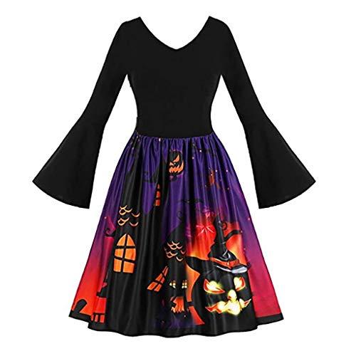 Prom Nightmare Costume (VEKDONE Women Halloween Dress Plus Size Vintage Pumpkins Ghost Evening Prom Costume Swing A-Line Dress)