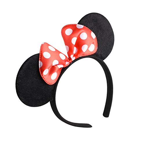 Picoway Mouse Ears Solid Black & Red Bow Headband Set of 20