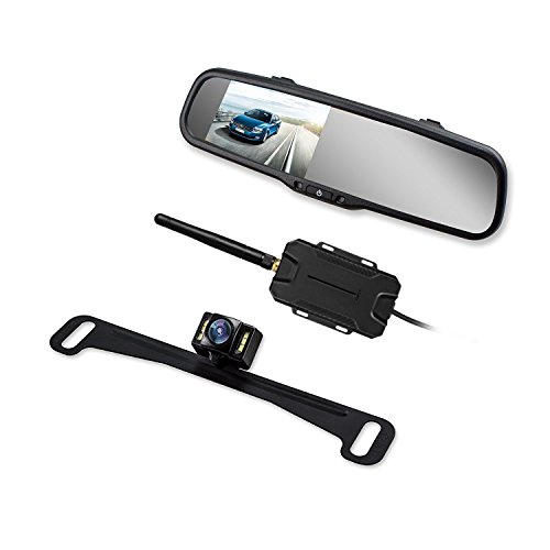 AUTO VOX Wireless Reverse Camera Kit Car Backup Camera with Rear View Mirror Monitor and IP 68 Waterproof Reversing Camera LED Super Night Vision Back Up Car Camera Kit Easy Installation