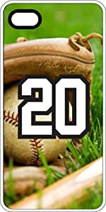 Baseball Sports Fan Player Number 20 White Plastic Decorative iPhone 5/5s Case