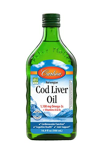 Carlson - Cod Liver Oil, 1100 miligrams Omega-3s, Norwegian, Sustainably Sourced, Unflavored, 500 mililiters