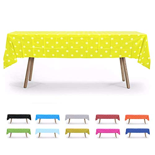 Yellow Polka Dot Tablecloth (12 Packs of Yellow Polka Dot Table Cover, Plastic Rectangular Pool Patio Party Disposal Table Cover)