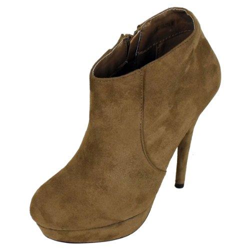 Boots Shoes Platform Ankle Faux Stiletto Heel Womens Taupe Boot Ladies Suede Shoe qfXIRgcw