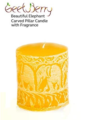 Pineapple Pillar - GeetuBerry Beautiful Elephant Carved Scented Pillar Candle (Orange) |3x3| Pineapple Fragrance | Rustic, Spring, Easter, Farmhouse, Country, Elephant Decor | Mother's Day, Eid Gifts