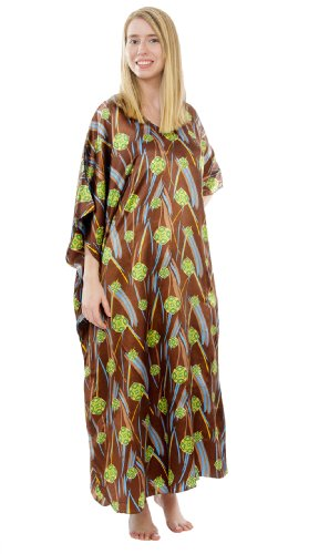 Satin Charmeuse Caftan with Timberland Inspired Print, Up2date Fashion Style#Caf-57 -