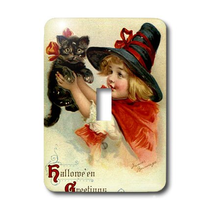 3dRose lsp_47024_1 Halloween Greetings Cat, Cute, Girl, Costume, Halloween, Trick Or Treat, Witch Light Switch (Cute Halloween Pic)