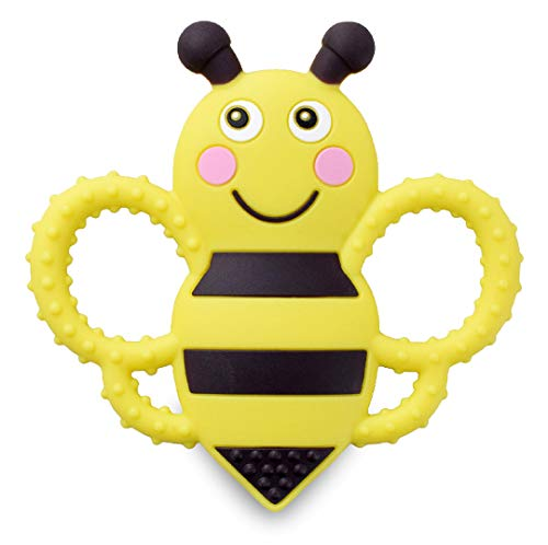 - Buzzy Bee Multi-Textured, Soft & Soothing, Easy-Hold, Silicone Teether (BPA Free, Freezer & Dishwasher Safe)