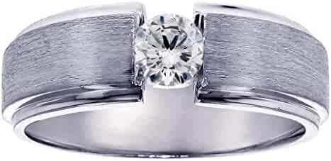 0.40 CT TW Brilliant Cut Large Diamond Mens Ring in Platinum Channel Setting