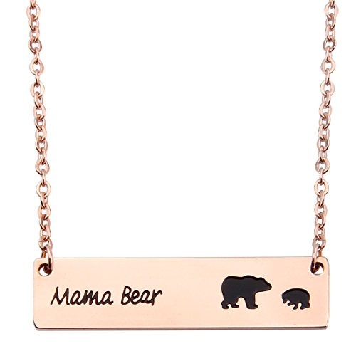 KUIYAI Sweet Family Mama and Baby Bear Rose Gold Bar Necklace Gift for Mothers with 1 Child (bar 1 cub Rose (Mothers Necklace Charms)