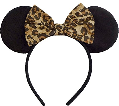 Minnie Mouse Ears Inspired Cheetah Hair Bow Headband Women Girls Mickey Birthday Party Theme Outfit by Sweet in the City -