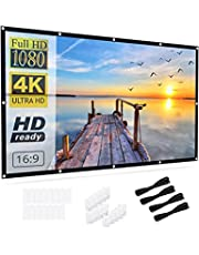 Projector Screen 100 inch,HYZ Wrinkle-Free Projector Screen with 16:9 HD Foldable Portable Rear and Front Projection Movies Screen for Indoor Outdoor with 160° Viewing Angle for Backyard Movie Night