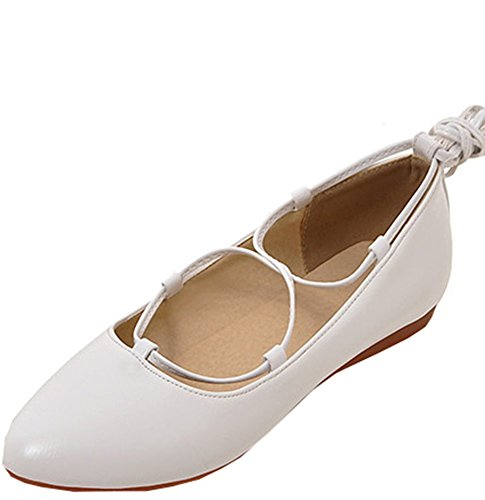 Easemax Womens Sweet Self Tie Round Toe Low Top Flats Shoes White w8WcWOtZB