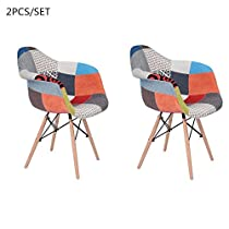 2pcs/Set Eames Arm Chair, FurnitureR Home ModernPatchworks Padded Upholstered Accent Dining Chair