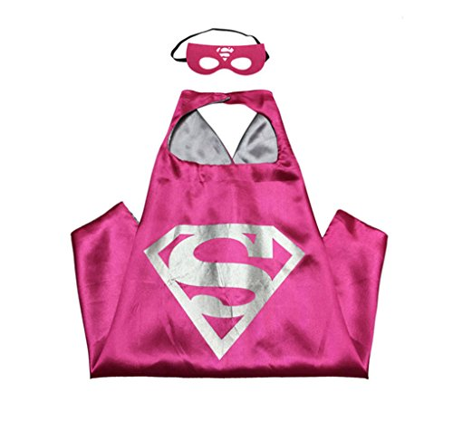 Rush Dance Kids Children's Deluxe Comics Super Hero CAPE & Matching MASK Costume (Hot Pink (Pink Dance Costume)