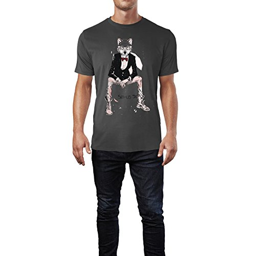 SINUS ART ® Zeichnung Hipster Wolf mit Fliege und Brille Herren T-Shirts in Smoke Fun Shirt mit tollen Aufdruck