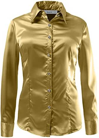 RubyK Womens Long Sleeve Satin Blouse with Cuffs