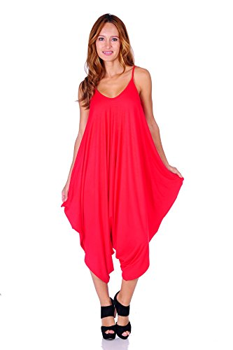 78c1c45d5dd SR Women s Solid Color Spaghetti Strap Loose Fit Harem Jumpsuits