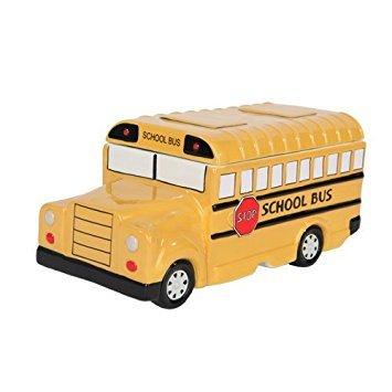 9.75 Inch Yellow School Bus Ceramic Cookie Jar Statue Figurine ()