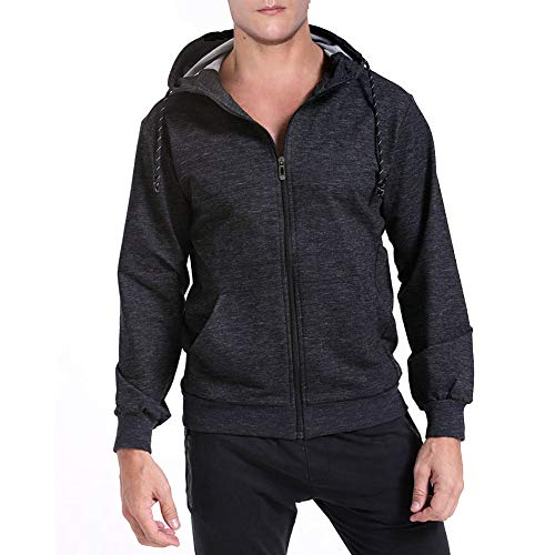 Mens Fashion Hoody Classic Active Hoodie Casual Pullover Hoodie Shirt Workout Outdoor Full Zip Long Sleeve Cotton Twill Coat Family Sports Hiking Mountain Climbing Autumn Spring Winter(Black, XXXL) ()