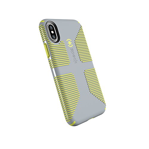 (Speck Products CandyShell Grip Cell Phone Case for iPhone XS/iPhone X - Nickel Grey/Antifreeze Yellow)