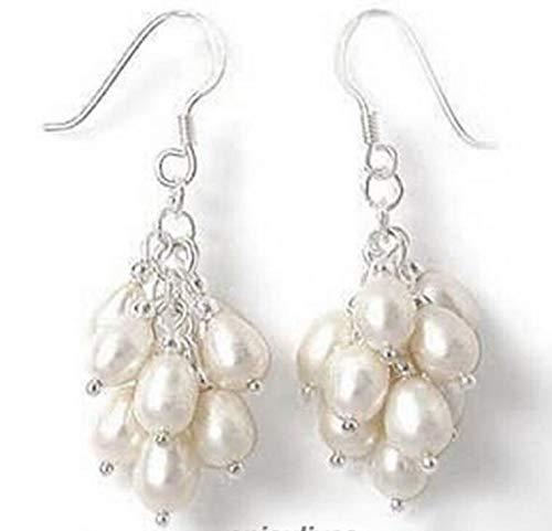 Genuine White Pearl 925 Sterling Silver Grape Hook Earrings