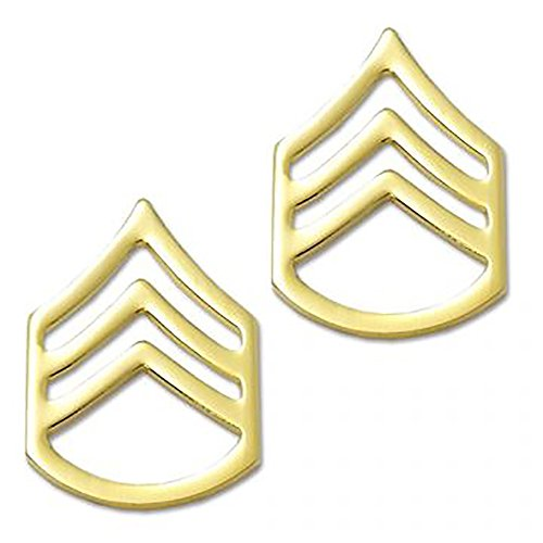 Military Rank Sergeant (US Army Brite Metal Pin-On Rank - Staff Sergeant)