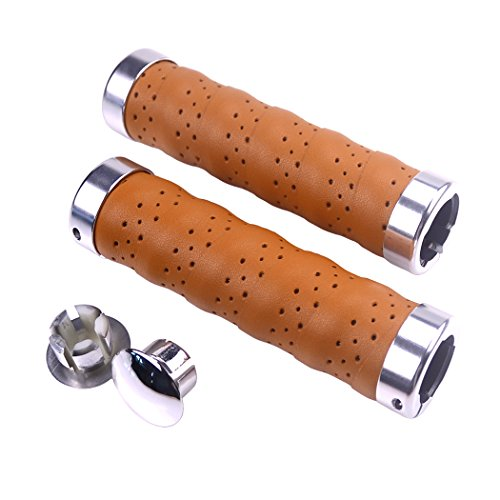 KINGOU Ergonomic Design Leather Handlebar Grip for Bicycle/Fixed Gear/Mountain/Folding Bike Double Lock-on Bar Grip