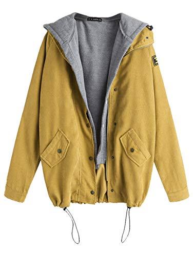 ZAFUL Women's Patchwork Drawstring Corduroy Jacket Fleece Hooded Vest Twinset Casual Oversized Jacket Coat(Mustard-L)