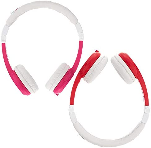 ONANOFF BuddyPhones Explore Foldable, Volume-Limiting Kids Foldable Headphones with Travel Bag, Compatible with Fire, iPad, iPhone, and Android Devices, Pink and Red