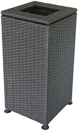 大きい正方形の屋外のごみ箱の手で編まれたプラスチック藤のゴミ箱はホテルのロビーのオフィスの縦の不用品のリサイクルの堆肥箱を駐車できます (Color : Black, サイズ : 12.41*26inchs)