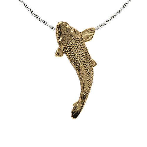 Koi Fish 22k Gold Plated Pendant, Necklace, Jewelry, FG111PEN