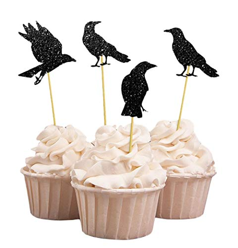 Darling Souvenir, Halloween Party Glitter Black Crow Cupcake Toppers, Party Dessert Cake Decorations - Pack Of 20 -