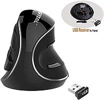 J-Tech Digital Wireless Ergonomic Vertical USB Mouse with Adjustable Sensitivity (600/1000/1600 DPI), Scroll Endurance,...