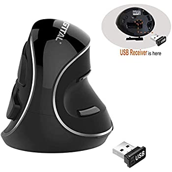J-Tech Digital Wireless Ergonomic Vertical USB Mouse with Adjustable Sensitivity (600/1000/1600 DPI), Scroll Endurance, Removable Palm Rest & Thumb Buttons ...