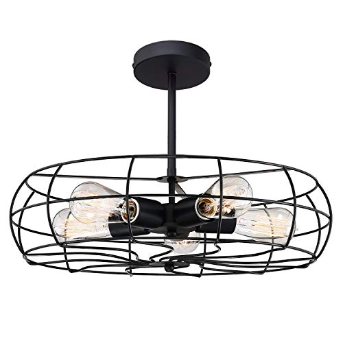 "Kira Home Gage 18"" 5-Light Industrial Vintage Semi-Flush Mount Ceiling Light + Metal Cage Shade, Matte Black Finish"