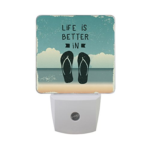 (Naanle Set of 2 Quote Design Life is Better in Flip Flop Summer Tropical Ocean Beach Auto Sensor LED Dusk to Dawn Night Light Plug in Indoor for Adults )