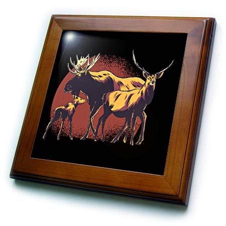 (3dRose Sven Herkenrath Nature - Graphic with Three Deers Wildlife with Red Circle Background - 8x8 Framed Tile (ft_316109_1))