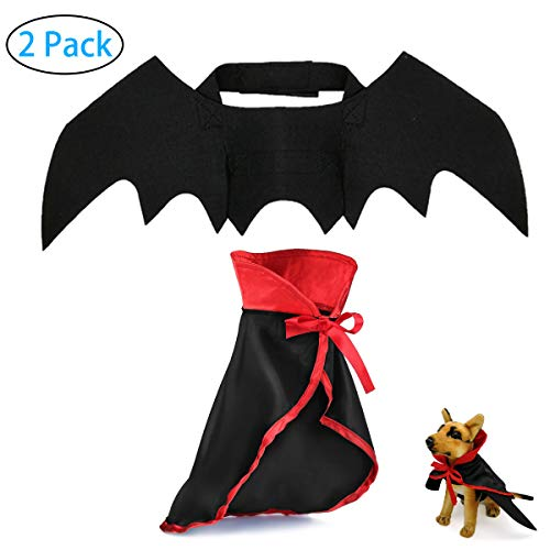 Strangefly Dog&Cat Halloween Costume,Vampire Cloak+Bat Wings Apparel Suit,Holiday Cosplay,Party Dress Up,Cute,Funny and…